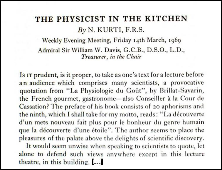 """The Physicist in the Kitchen"""