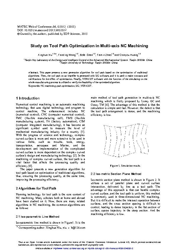 Study on Tool Path Optimization in Multi-axis NC Machining