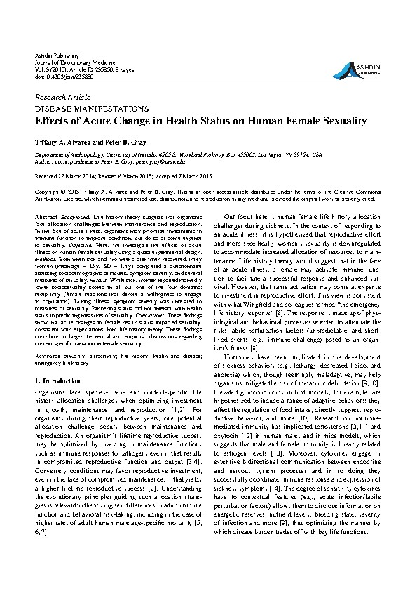Effects of Acute Change in Health Status on Human Female Sexuality