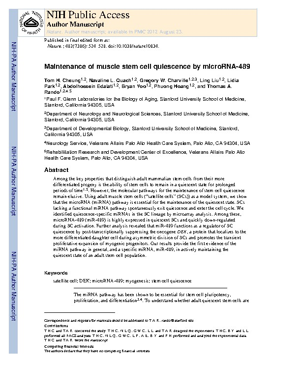 Maintenance of muscle stem-cell quiescence by microRNA-489