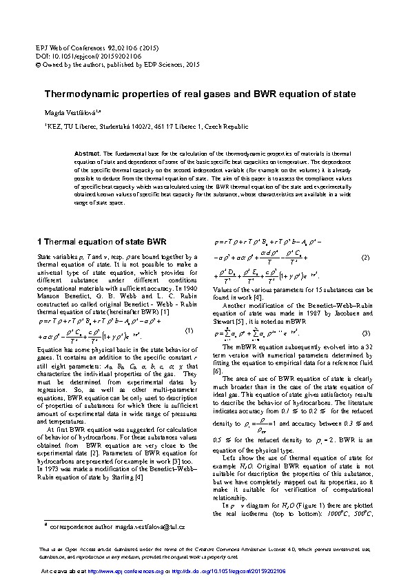 Thermodynamic properties of real gases and BWR equation of state