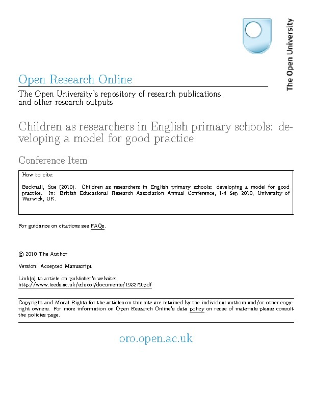 Children as researchers in English primary schools: developing a model for good practice