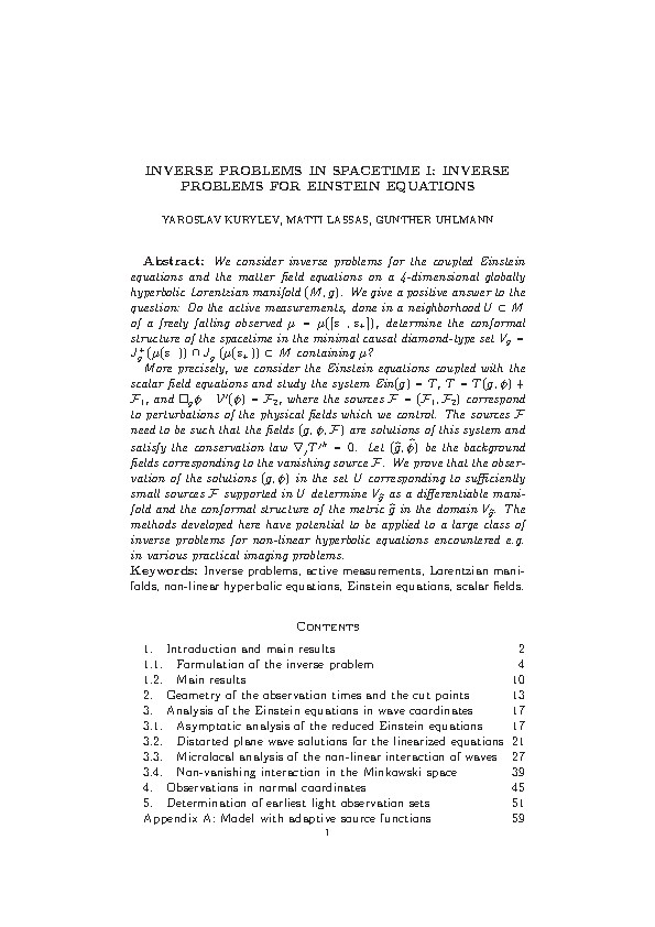 INVERSE PROBLEMS IN SPACETIME I: INVERSE PROBLEMS FOR EINSTEIN EQUATIONS