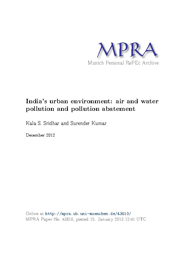 India's urban environment: air and water pollution and pollution abatement