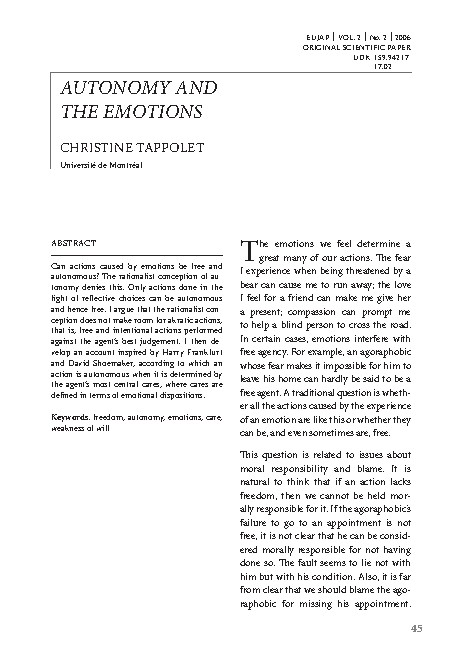 Autonomy and the emotions