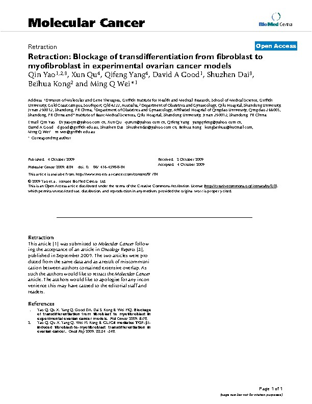Retraction: Blockage of transdifferentiation from fibroblast to myofibroblast in experimental ovarian cancer models