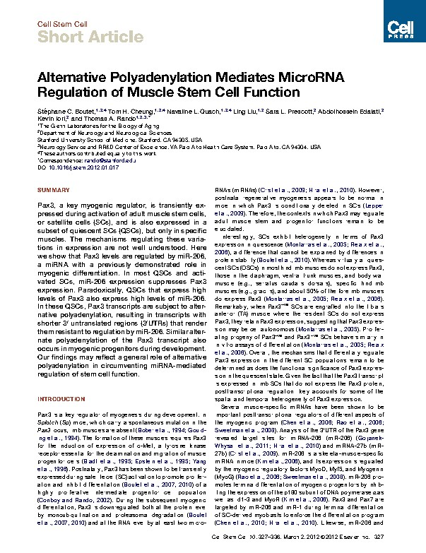 Alternative Polyadenylation Mediates MicroRNA Regulation of Muscle Stem Cell Function