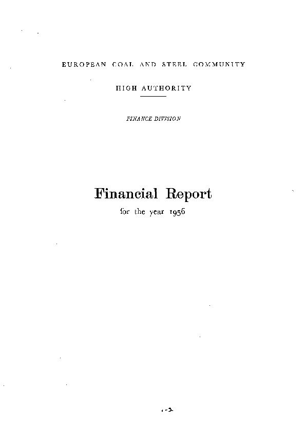 ECSC financial report for the year 1956