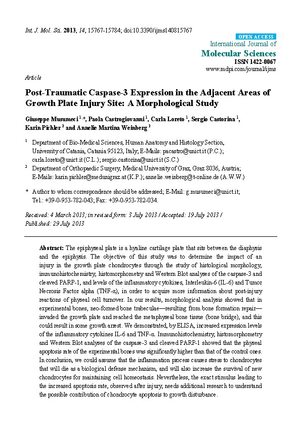 Post-Traumatic Caspase-3 Expression in the Adjacent Areas of Growth Plate Injury Site: A Morphological Study