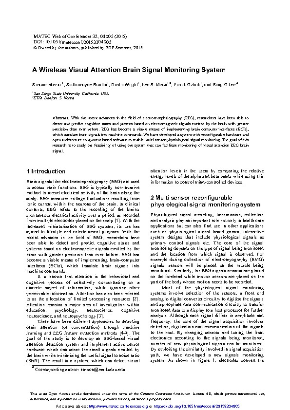 A Wireless Visual Attention Brain Signal Monitoring System