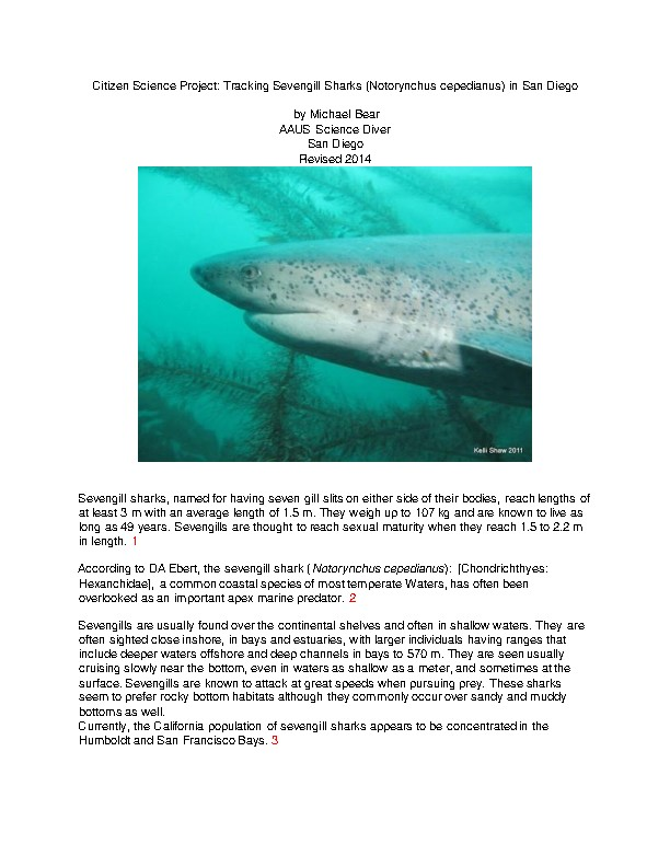 Citizen Science Project: Tracking Sevengill Sharks (Notorynchus cepedianus)