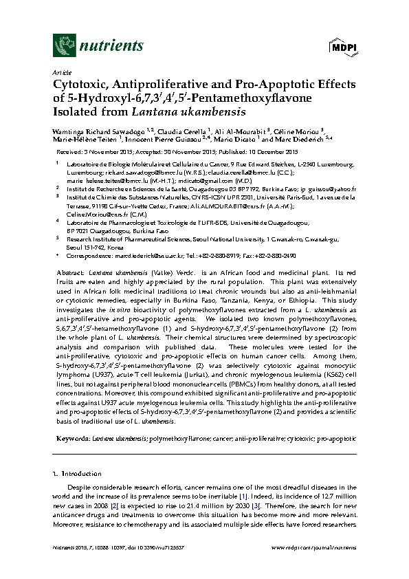 Cytotoxic, Antiproliferative and Pro-Apoptotic Effects of 5-Hydroxyl-6,7,3′,4′,5′-Pentamethoxyflavone Isolated from Lantana ukambensis