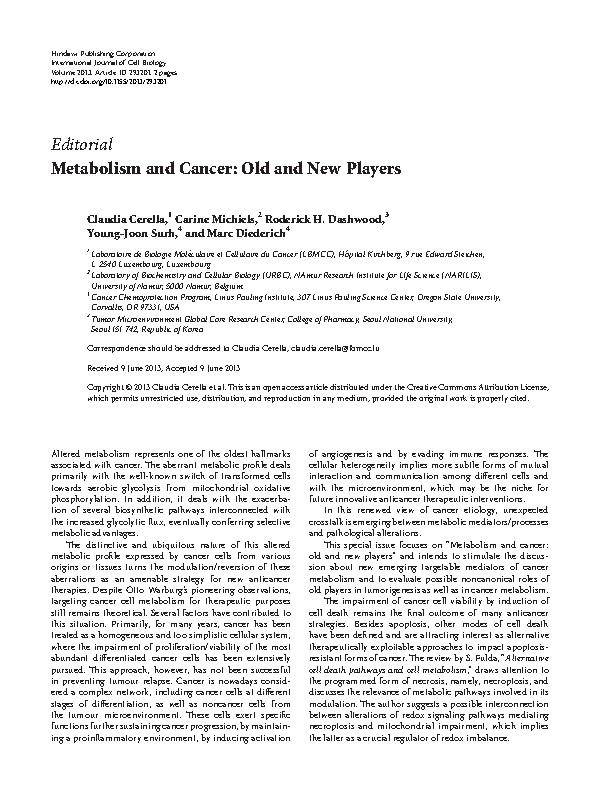 Metabolism and Cancer: Old and New Players