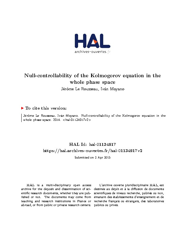 Null-controllability of the Kolmogorov equation in the whole phase space