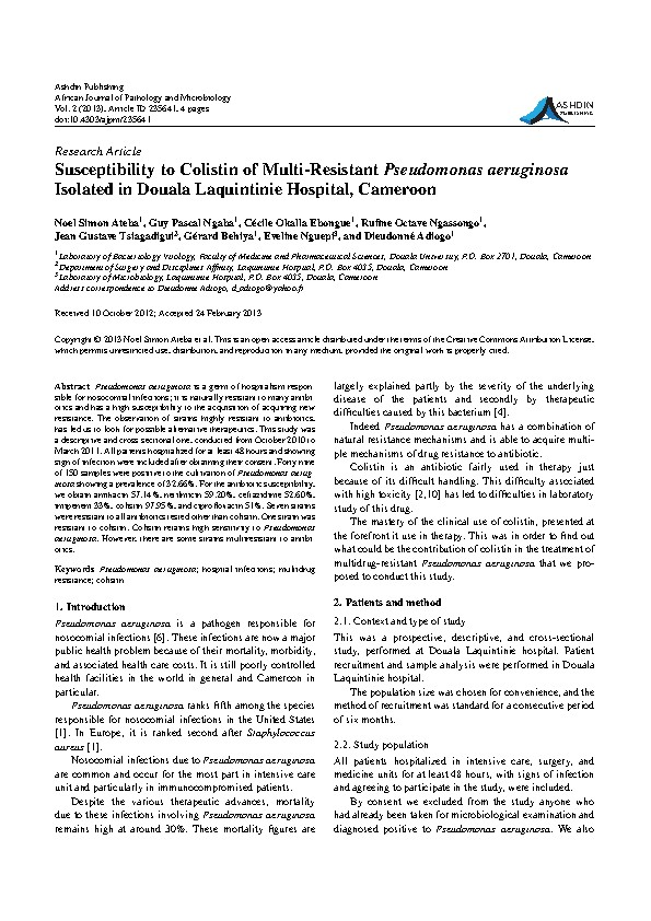 Susceptibility to Colistin of Multi-Resistant Pseudomonas aeruginosa Isolated in Douala Laquintinie Hospital, Cameroon