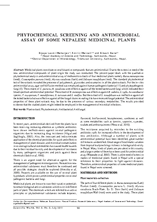 Phytochemical screening and antimicrobial assay of some Nepalese medicinal plants