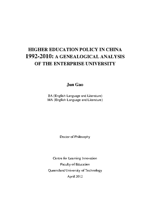 Higher education policy in China 1992-2010 : a genealogical analysis of the enterprise university