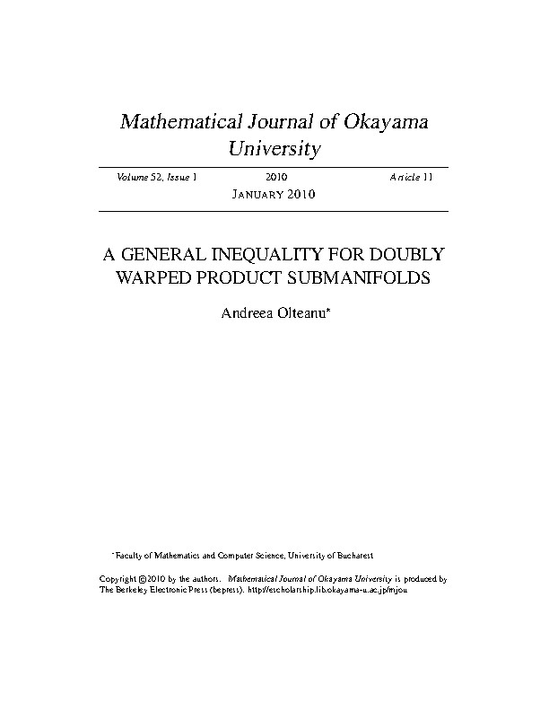 A GENERAL INEQUALITY FOR DOUBLY WARPED PRODUCT SUBMANIFOLDS