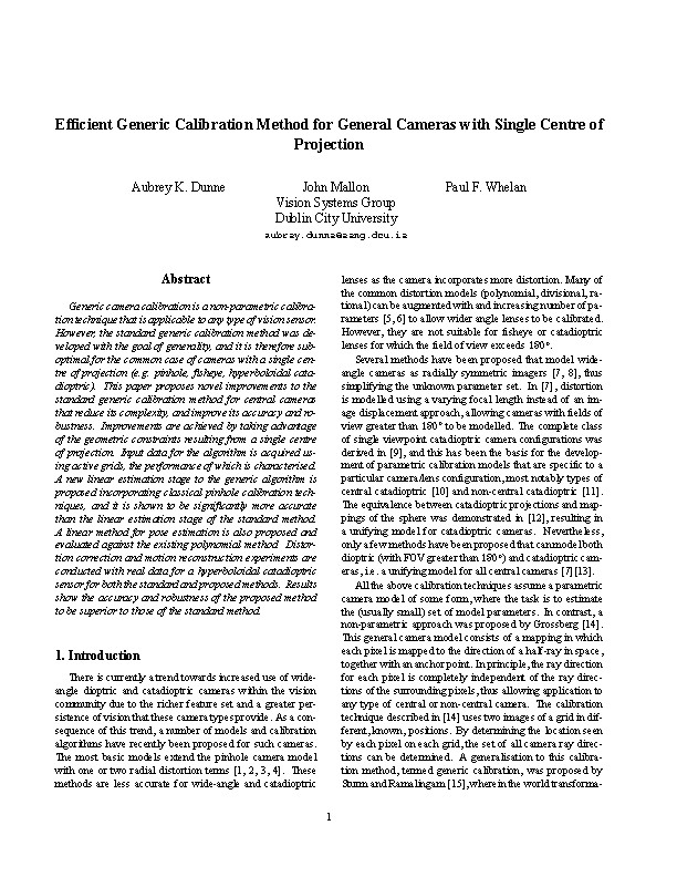 Efficient generic calibration method for general cameras with single centre of projection