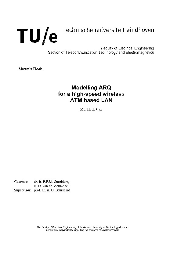 Modelling ARQ for a high-speed wireless ATM based LAN