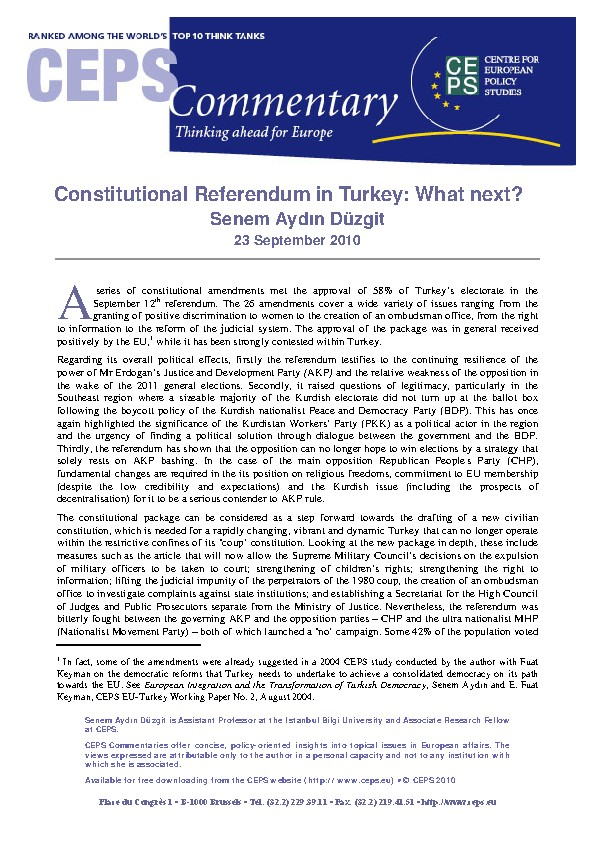 Constitutional referendum in Turkey: what next? CEPS Commentary, 23 September 2010