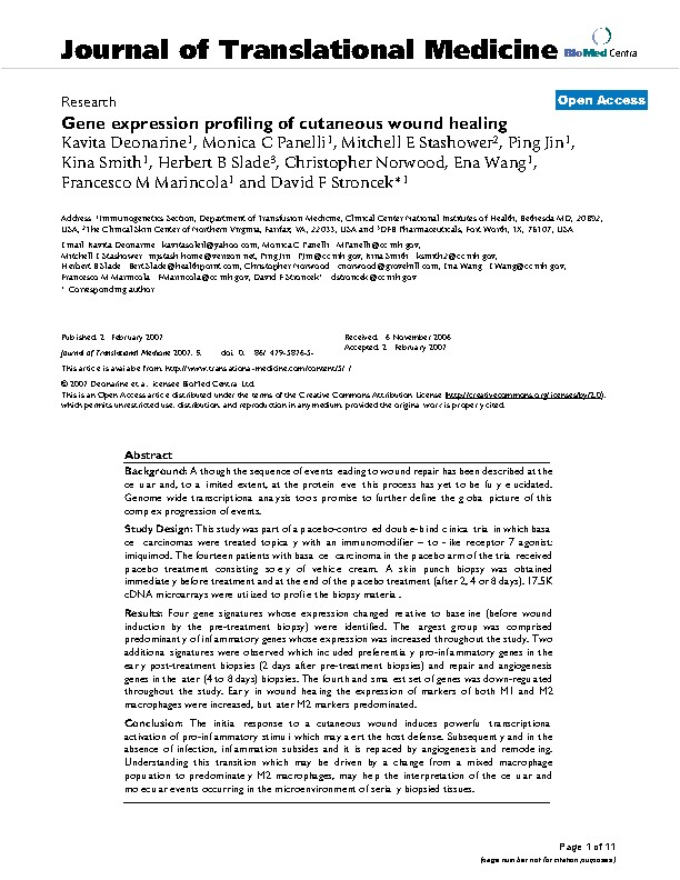 Gene expression profiling of cutaneous wound healing